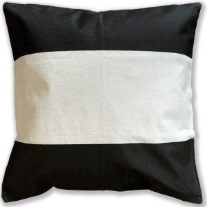 Cojín Crudo y Negro Lino 45×45