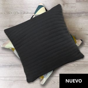 Cojín Negro Algodón Franjas 45×45